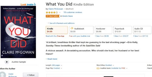 screenshot of #1 bestseller in amazon psychological thriller books